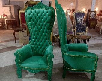 Green Throne Chair Green Velvet Chair *2 LEFT* French Chair Throne Green Velvet Chair Tufted Gold Throne Chair Rococo Vintage Chair