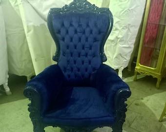 Dark Blue Children Throne Chair Blue Velvet *2 LEFT* French Children Chair Throne Blue Tufted Blue Throne Chair Rococo Vintage Chair