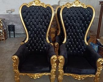 Gold Throne Chair Black Velvet Chair French Tufted Chair Throne Black Velvet Chair Tufted Black Frame Throne Chair Rococo Interior Design