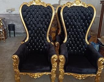 Gold Throne Chair *2 Left* Black Velvet Chair French Tufted Chair Throne Black Velvet Chair Tufted Black Frame Throne Chair Rococo