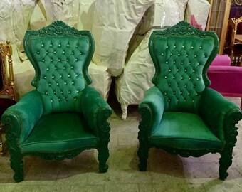 Green Children Throne Chair Green Velvet *2 LEFT* French Children Chair Throne Green Velvet Tufted Green Throne Chair Rococo Vintage Chair