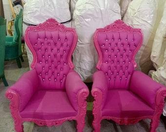 Pink Children Throne Chair Pink Velvet *2 LEFT* French Children Chair Throne Pink Velvet Tufted Pink Throne Chair Rococo Vintage Chair