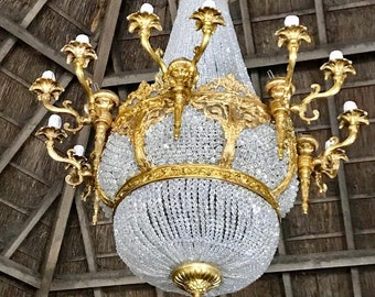 "Crystal Chandelier Extra X-LARGE French JUMBO Basket Gilded Bronze Empire Bowl 52""H x 36""W Interior Design"