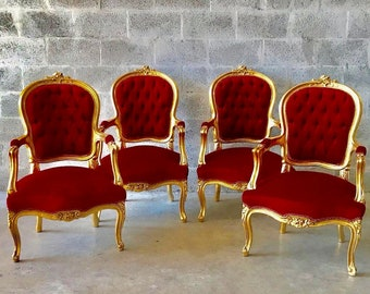 French Chair Red French Settee *5 Piece Availa* French Sofa French Furniture Baroque Settee Tufted Chair Gold Leaf Baroque Furniture Rococo
