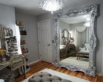 "French Mirror Silver Leaf Frame Interior Design Baroque Mirror French Furniture 5.5""FT x 7.5""FT Rococo Silver Leaf Mirror Vintage Mirror"