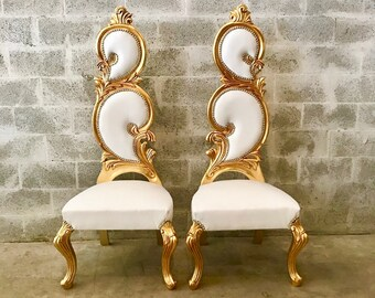 Italian Baroque Throne Chair 4 available High Back Reproduction White Leather French Furniture French Chair Rococo Furniture Interior Design