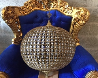 "Jumbo Gold Sphere Chandelier 32"" Gold Round Empire Detailed Ball Chandelier Interior Design FREE SHIPPING *1 Available* USA Re-Wired"