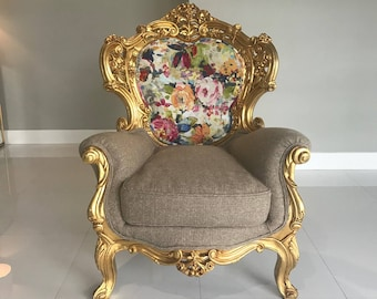 SOLD* Baroque Throne Chair Bergere Antique Furniture Italian Refinish Gold Leaf Frame Interior Design Reupholstery French Chair Louis XVI