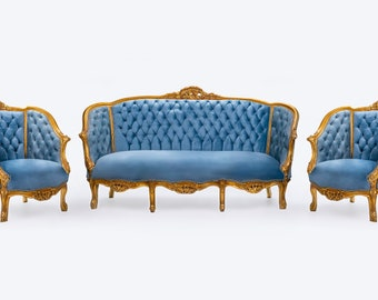 French Tufted Chair *3 Piece Set* French Settee Tufted Vintage Furniture Antique Baroque Furniture Rococo Interior Design Vintage Chair