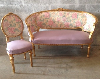 French Settee Antique Furniture French Louis XVI *2 Piece Available* Sofa Chair Corbeille Purple Lavender Gold Leaf Fabric Floral Pattern