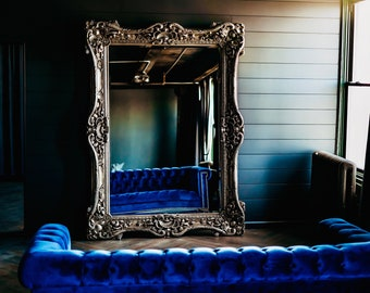 "LAST 1 Available* French Mirror Silver Antique Leaf Interior Design Baroque Mirror French Furniture 7.5""H x 5.5""W Rococo Silver Mirror"