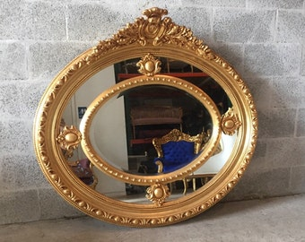 "French Mirror Round Mirror Gold Heavy Carved Great Condition *2 Available* 46""H x 49""W x  Louis XVI Rococo Baroque French Furniture"
