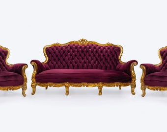French Chair Tufted Chair Purple Velvet (3 Piece Set) Chair French Tufted Chair Purple Velvet Chair Tufted Purple Gold Frame Rococo
