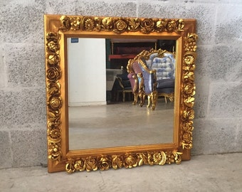 "French Square Shape Mirror *1 Available* 29""H x 29""W French Furniture Rococo Baroque Wall Mirror Gold Mirror"