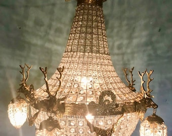 "Deer Stag Chandelier LARGE French Stag Deer Head Large Basket Brass Empire Bowl 29""H x 25""W Interior Design Refinished"