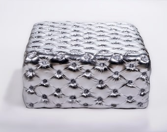 Chesterfield Footstool *1 in Stock* Silver Leather Tufted fabric Crystal Buttons Coffee Table Vintage Furniture French Bench Vintage Chair