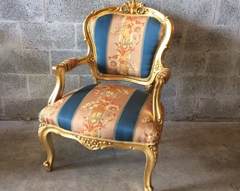SOLD* French Gold Fauteuil Chair (2 Available) Peach Pink Blue Fabric refinished God leaf French Louis XVI Rococo Baroque Antique Arm-Chair