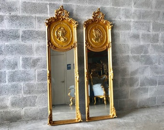 Baroque Mirror *Set of 2* Antique Mirror Rococo Gold Leaf French Mirror Floor Woman Face Mirror Interior Design Interior Design