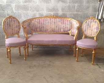 French Settee Antique Furniture French Louis XVI *3 Piece Available* Sofa Chair Corbeille Purple Lavender Gold Leaf Fabric Floral Pattern