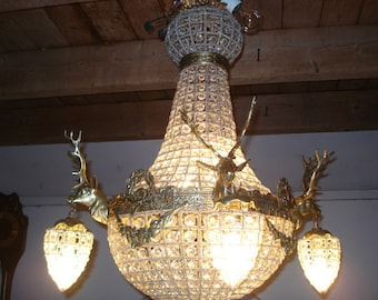 """Deer Stag Chandelier x-LARGE French Stag Deer Head Large Basket Brass Empire Bowl 36""""H x 29""""W Interior Design Refinished"""