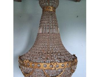 "44"" XL Bowl Basket Chandelier Extra LARGE Antique French Brass Empire Bowl 44""Hx 30""D Interior Design Refinished Brass Vintage chandelier"