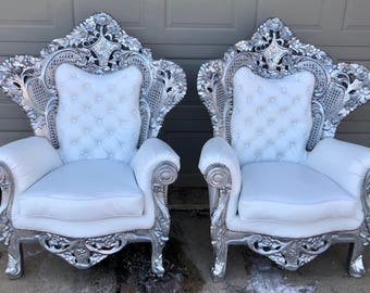 SOLD* Rococo Throne Chair Silver Chair Tufted Chair White Leather New Upholstery Antique French Furniture Baroque Interior Design Tufted