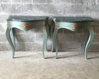 French Side Tables Marble Hand Painted Refinsihed (pair) New Marble French Louis XVI Baroque Rococo Blue