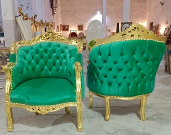 French Chair Vintage Corbeille *2 Available* Vintage Furniture Green Velvet Chair French Interior Design Rococo Furniture Baroque