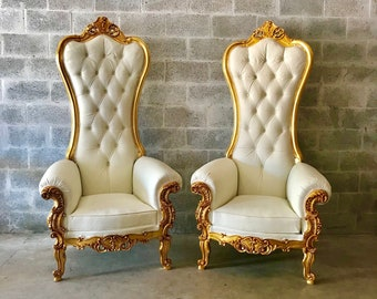 White Throne Chair White Leather *8 Available* Chair French Chair Throne Chair Tufted Gold Throne Chair Rococo Interior Design