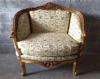 French Corbeille Marquise Settee Bergere Louis XVI Very Sturdy Napolean III Rococo Baroque Refinished Gold Leaf & New Fabric French Settee