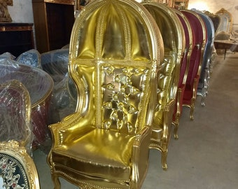 French Balloon Chair Throne Chair *2 Available* High-Back French Canopy Gold Chair Gold Leather Interior Design