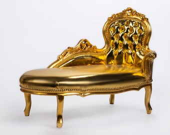Vintage Chaise Lounge Furniture Sofa Gold Settee French Chaise Lounge Baroque Furniture Rococo Interior Design Gold Leather Fabric