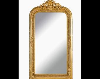 French Mirror *1 in Stock Left* French Baroque Mirror Rococo Mirror Antique Mirror 5 Feet Tall Gold Leaf Antique Furniture Interior Design