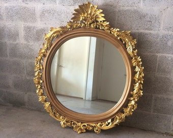 "French Round Shape Mirror *1 Available* 50""H x 43.5""W French Furniture Rococo Baroque Wall Mirror Gold Mirror Heavy Carved"