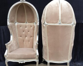 French Balloon Chair Beige Velvet Throne Chair *2 Avail* High-Back Reproduction Gold Chair Tufted Cream Upholstery French Interior Design