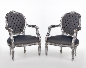 French Tufted Chair *2 Chairs Available* Silver Chair French Tufted Vintage Furniture Baroque Furniture Rococo Interior Design Vintage Chair