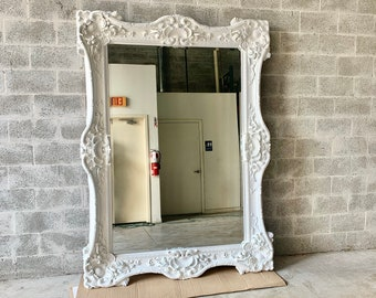 "French Mirror White Lacquer *1 Left in Stock* Interior Design Baroque Mirror French Furniture 5.5""FT x 7.5""FT Rococo White Mirror Vintage"