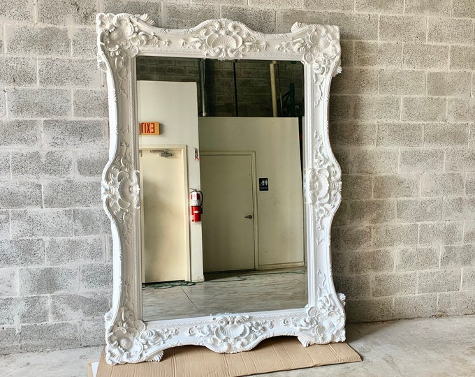 "Featured listing image: French Mirror White Lacquer *1 Left in Stock* Interior Design Baroque Mirror French Furniture 5.5""FT x 7.5""FT Rococo White Mirror Vintage"