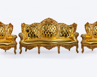 Sofa Vintage Chair *3 Piece Set French Chair Vintage Furniture Interior Designer Gold Sofa French Settee Baroque Rococo Vintage French Chair