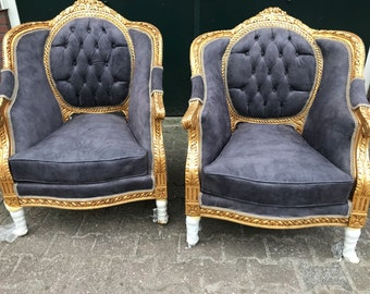 French Chairs French Furniture Chairs Antique Furniture French Tufted Chair Refinish Gold Leaf Tufted Grey Gray Fabric Interior Design