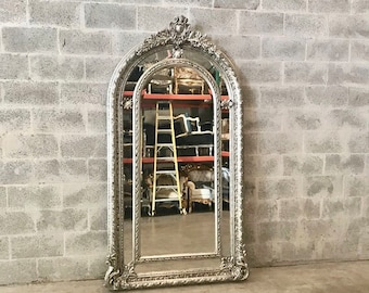 "French Floor Mirror Silver Heavy Carved French Furniture 81""H x 44.5""W French Louis XVI Vintage Mirror Rococo Baroque Antique Furniture"