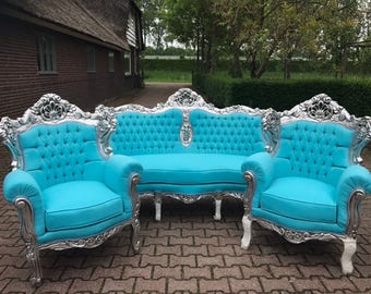 BaroqueThrone Furniture Bergere Chair Baby Blue *3 Piece Set* Silver Leaf Gild French Chair Louis XVI French Furniture Antique Chair Tufted