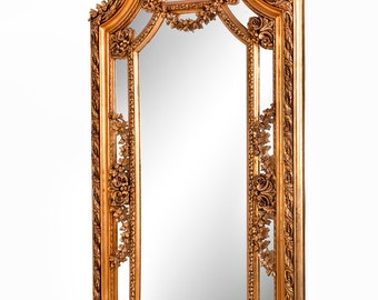 French Mirror *1 in Stock 7 Feet Tall Baroque Mirror Rococo Mirror Antique Mirror Vintage Mirror Gold Leaf Antique Furniture Interior Design
