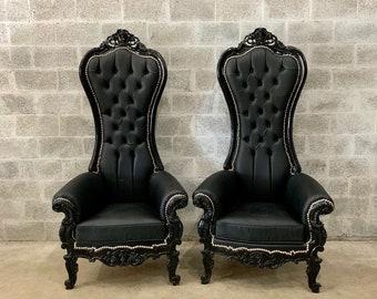 Black Throne Chair Black Leather Chair *3 Available French Chair Throne Black Leather Chair Tufted Black Throne Chair Rococo Interior Design