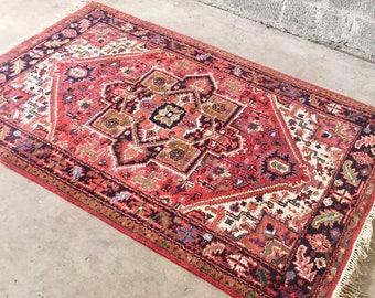 "Antique Red Woolen Rug Carpet Persian HERIZ India Rug Dimension 80""W x 49""D (6.6 Feet x 4'Feet)"