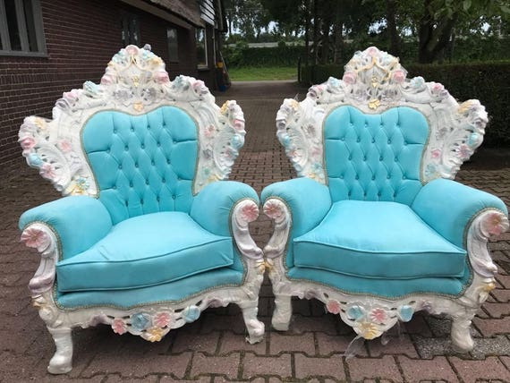 Venetian Throne Chair Antique Furniture Baby Blue Velvet | Etsy