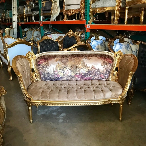 Brilliant French Sofa French Settee Corbeille French Furniture French Settee Tufted Settee Gold Frame Tufted Sofa French Furniture Interior Design Home Interior And Landscaping Analalmasignezvosmurscom