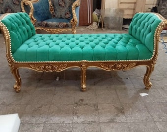 French Chaise Lounge/ Antique Gold Leaf Finish/Hand Carved Wood Frame/ Tufted Green Vintage Furniture Vintage Chair Chaise