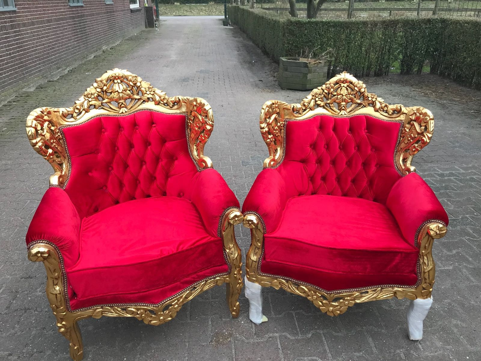 Baroque Settee Chairs Baroque Furniture Chairs Antique Furniture Rococo Tufted  Chair Refinish Gold Leaf Tufted Red Fabric Interior Design