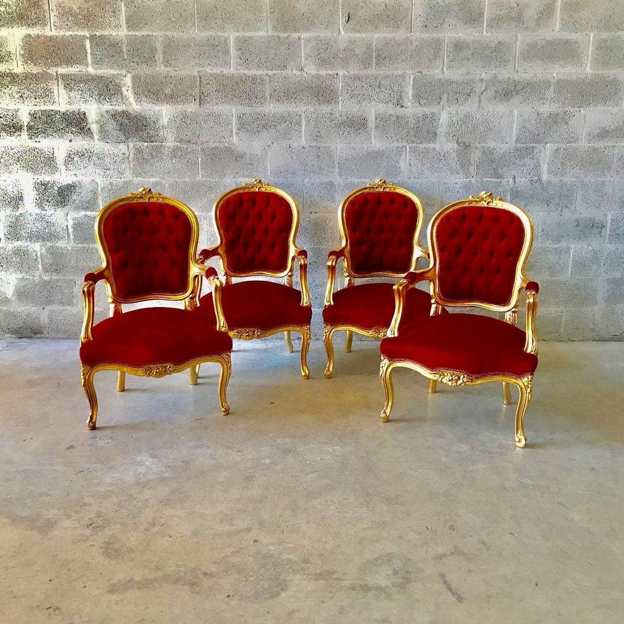 Magnificent Sold French Chair Red French Settee 5 Piece Availa Machost Co Dining Chair Design Ideas Machostcouk